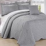 120 Inch King Comforter Serenta Damask 4 Piece Bedspread Set, King, Ash Gray