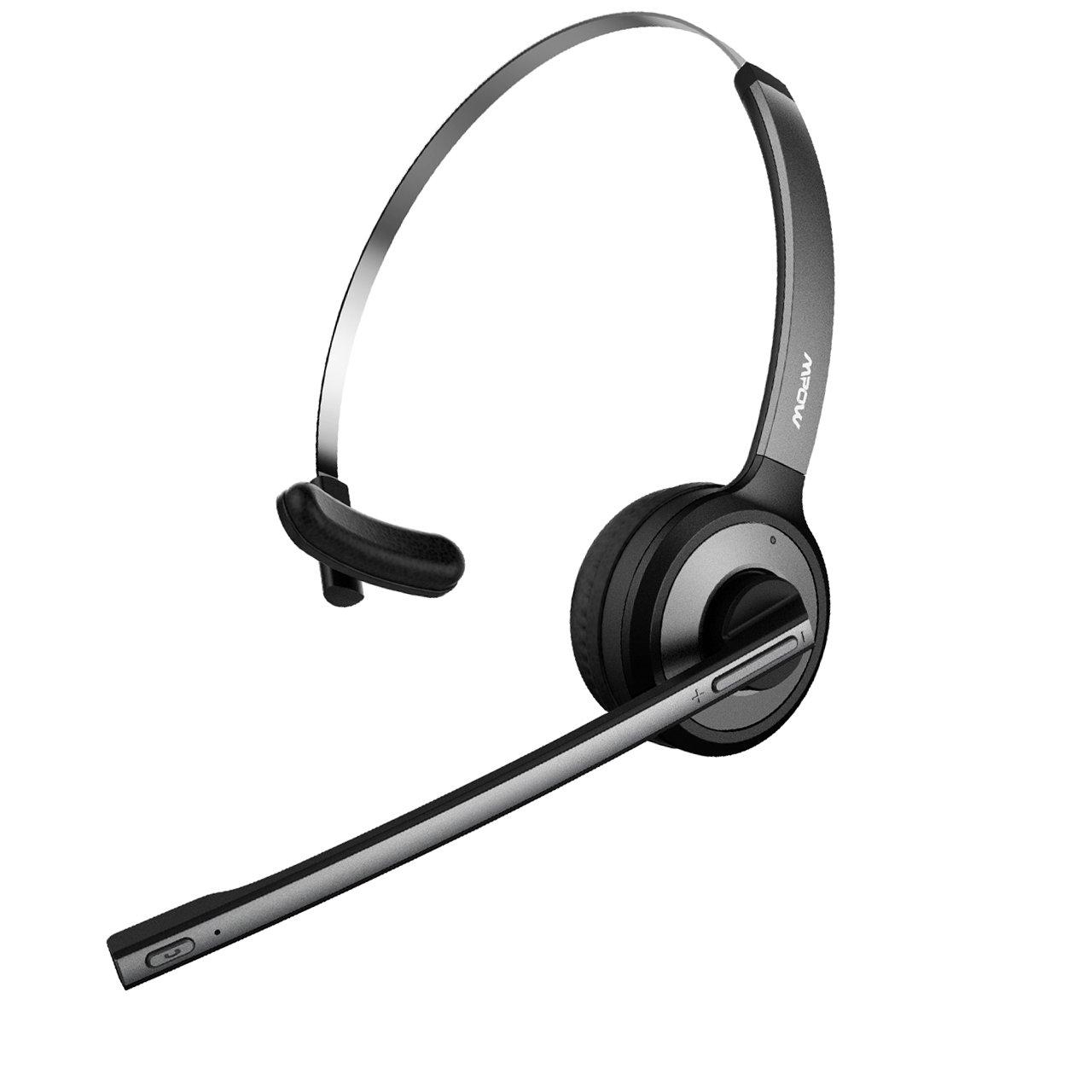 Mpow v4 . 1 Bluetoothヘッドセット/Truck Driverヘッドセット、ワイヤレスover headイヤホンwithマイクノイズリダクションの再生の電話、Skype、コールセンター、Office (サポートメディア) グレー PAMPBH078AH-USAA1 B0774JFRDL  グレイ&ブラック