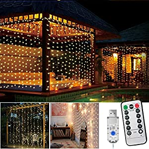 LED Curtain Lights,New-USB Fairy Lights,IP67 Waterproof,8 Modes,3M × 3M Window Icicle String Lights with Remote Control for Garden, Gazebo, Party, Christmas,Bedroom Decoration(Warm White)