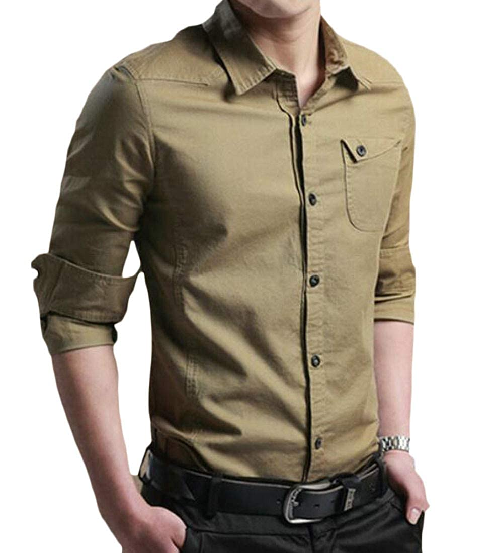 Lutratocro Mens Fleece Lined Button Up Long Sleeve Thicken Slim Shirts