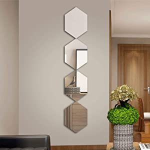 CrazyDeal Full Length Hexagon Mirrors Plastic Wall Stickers Long Decorative Tiles for Wall Decor Living Room Bedroom Apartment Dorn Gym Modern Home Decorations Entryway Large Set of 4