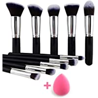 URBAN MAC 10 Pcs Makeup Brushes Set Tool Pro Foundation Eyeliner Eyeshadow (Black) With Sponge puff (colour may vary)