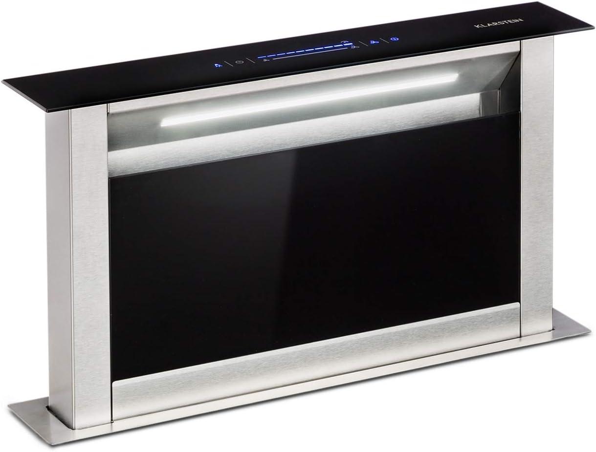 Klarstein Royal Flush Eco Extractor de humos de mesa - Replegable, 60 cm, Absorción de 458 m³/h, Absorción y ventilación, Emisión de 60 db, Control táctil, Iluminación de la cocina LED, Negro