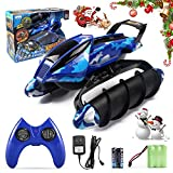 RC Motor Remote Control Amphibian Vehicle, Land & Water Tank Car, Military Solider Twister Boat Perfect for Christmas Gift- Batteries Included (Blue)