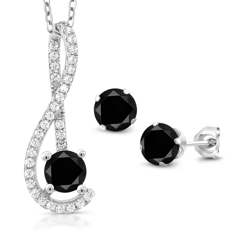 1.91 Ct Black Diamond White Created Sapphire 925 Silver Pendant Earrings Set by Gem Stone King (Image #1)