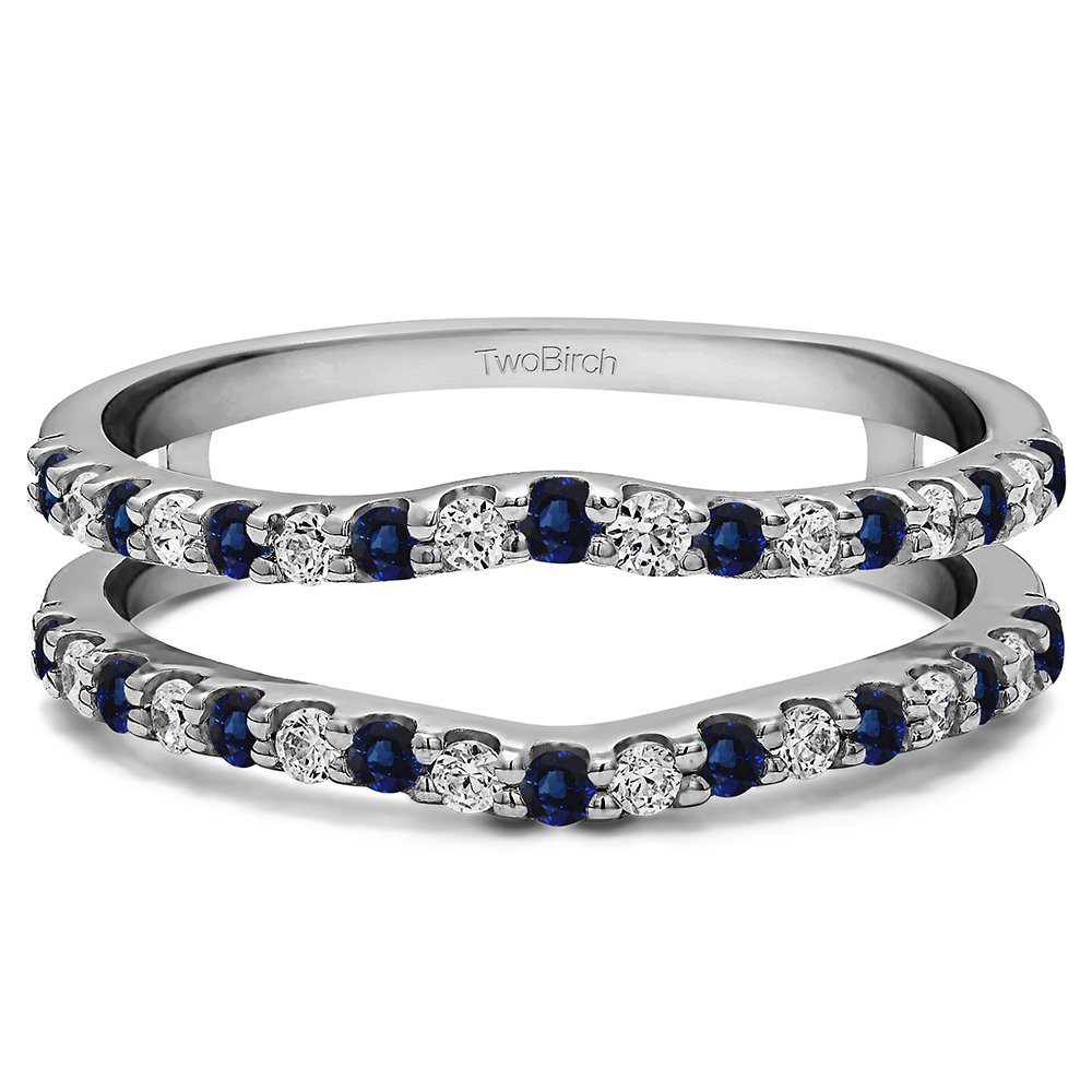 Silver Double Shared Prong Curved Ring Guard with Diamonds and Sapphire (0.99 ct. twt.)
