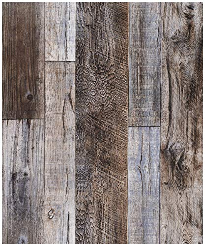 red Faux Wood Plank Wallpaper Rolls Slategray/Brown Barnwood Wallpaper Murals Home Kitchen Bathroom Decoration 20.8