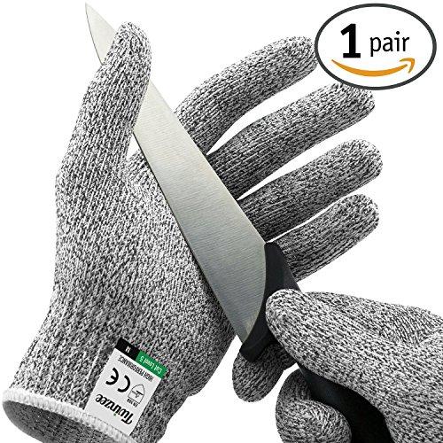 Twinzee® Schnittschutzhandschuh - Extra Starker Level 5 Schutz, Lebensmittelecht, EN 388 Zertifiziert, 1 Paar (Large)