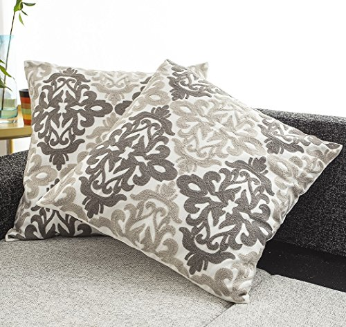 BEST DREAMCITY Canvas Embroidered with Grey and Brown Floral
