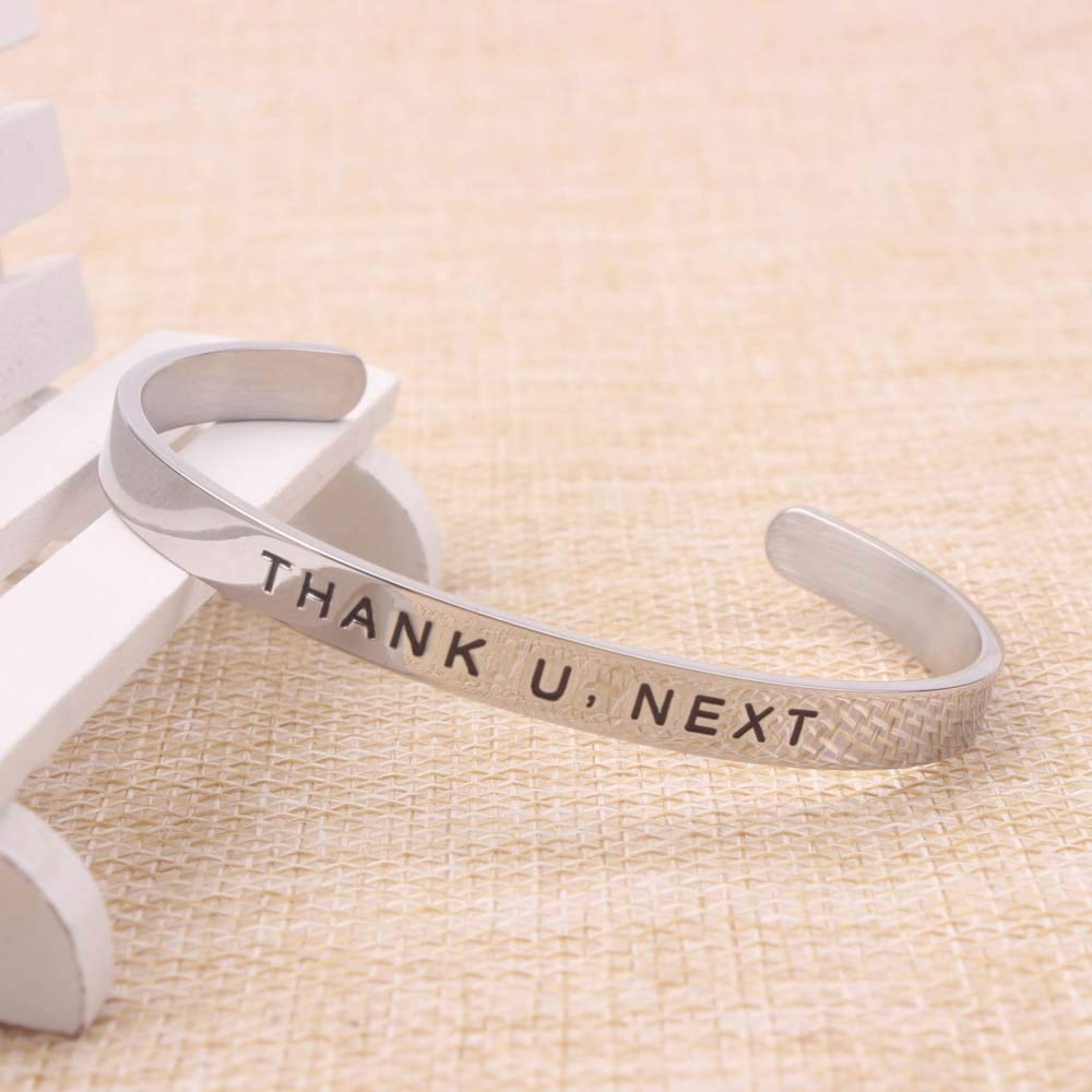 Hand Stamped Bracelets for Friends Engraved Thank U,Next Stainless Steel Cuff Bracelet Jewelry with Gift Box