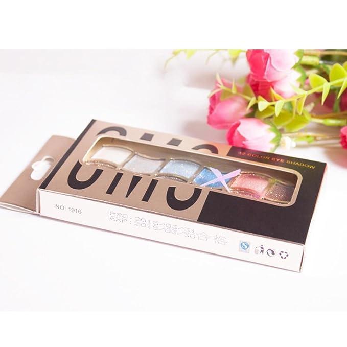 12 Colors Pro Eyeshadow Shimmer Palette & Cosmetic Brush Makeup Set Saingace (A)
