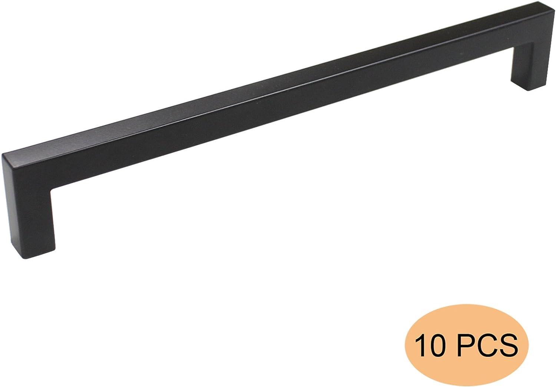 10 X Probrico 12mm*12m Noir Carr/é B/âton Acier Inoxydable Cuisine Armoire Porte Poign/ées Placard Tiroir Chambre Meubles Entraxe de trous 192mm PDDJS12HBK192