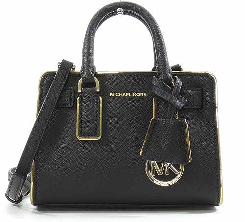 f422f90076ec3 MICHAEL Michael Kors Womens Dillon Specchio Mini Top Zip Crossbody  (Black Gold)
