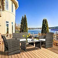 Goplus 4 PC Rattan Patio Furniture Set Garden Lawn Sofa...
