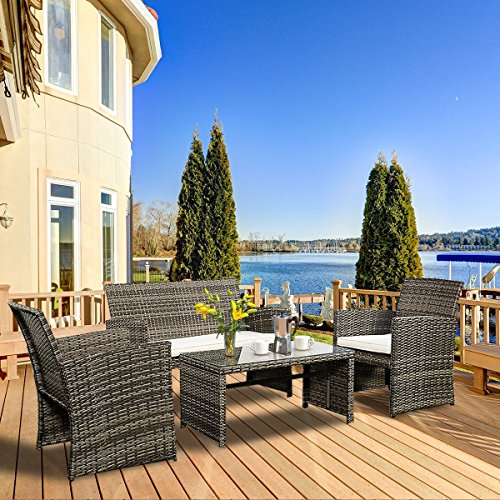 Goplus 4 PC Rattan Patio Furniture Set Garden Lawn Sofa Cushioned Seat Wicker Sofa (Mix Gray) (Patio On The Breakfast)