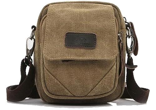 "60d292530 Naughtybags Unisex Small Vintage Canvas Shoulder Cross body Bags  ""Waist Bag"" (khaki"