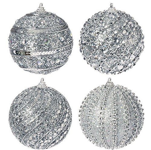 Christmas Tablescape Decor - Silver gemstone glittered sequin ball Christmas ornaments - Set of 4