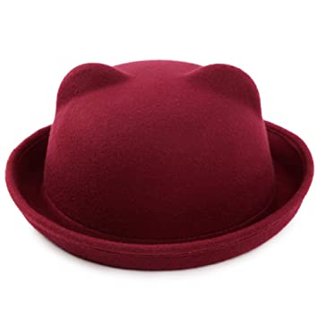 f40a9377cd7 Butterme Kids Roll Brim Cute Cat Ear Dura Cloche Bowler Hat Winter Wool Felt  Trilby Fedora