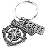 "UKCOCO Graduation Keychain with Scroll, ""2017"" Charm and Compass -- Gift for a Graduate"