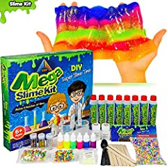 """😍😍 Never fear the phrase """"I'm Bored"""" Again! The Ultimate Mega Slime Kit is here😍😍 Kids LOVE playing with slime, Crunchy Slime, Galaxy Slime, Floam Slime, Crystal Slime, all differnt Slimes.Invent your own colors and combinations of effects..."""