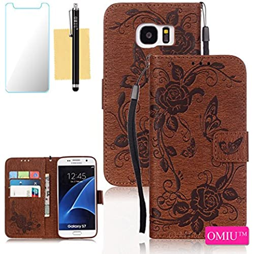 Galaxy S7 Case,S7 Case, OMIU(TM) Wallet PU Leather Embossed Butterfly Case with Credit ID Card Slots for Samsung Galaxy S7-Brown Sales