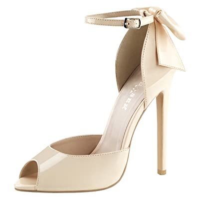 c678220d1a1 Summitfashions Womens Ankle Strap Pumps Patent Nude Shoes Dorsay Bow  Stiletto 5 inch Heels Size
