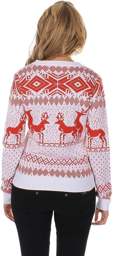 Tipsy Elves Cardigan navideno Color Blanco para Mujer. Renos en Cita Doble