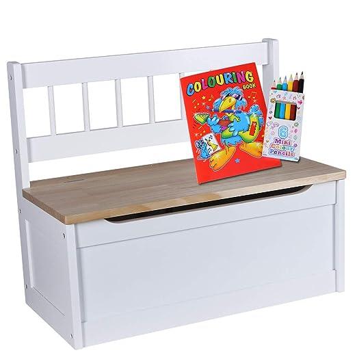 Kinder Truhenbank | Sitzbank Höhe 50 cm | Kinderzimmer Bank +  Aufbewahrungsfach | Sitzgelegenheit creme weiß | Bank MDF Nadelholz |  Kindersitzbank + ...