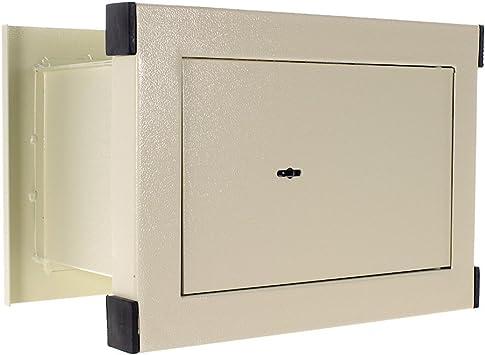 Caja fuerte de empotrar en la pared HDW-026 de HomeDesign, Color blanco, Fabricada en acero de alta calidad, Cerradura de llave de doble paletón, Bulones de bloqueo: Amazon.es: Bricolaje y herramientas