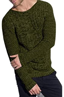 yibiyuan Mens Casual Twisted Knitted Pullover Sweaters Slim Fit Turtleneck Sweaters