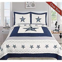 Dallas Cowboys Blue Star Quilt Set - 3 Piece Set (Oversized King)