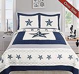 Dallas Cowboys Blue Star Quilt Set - 3 Piece Set (Oversized Queen)