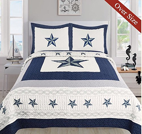 Dallas Cowboys Blue Star Quilt Set - 3 Piece Set (Oversized Queen)