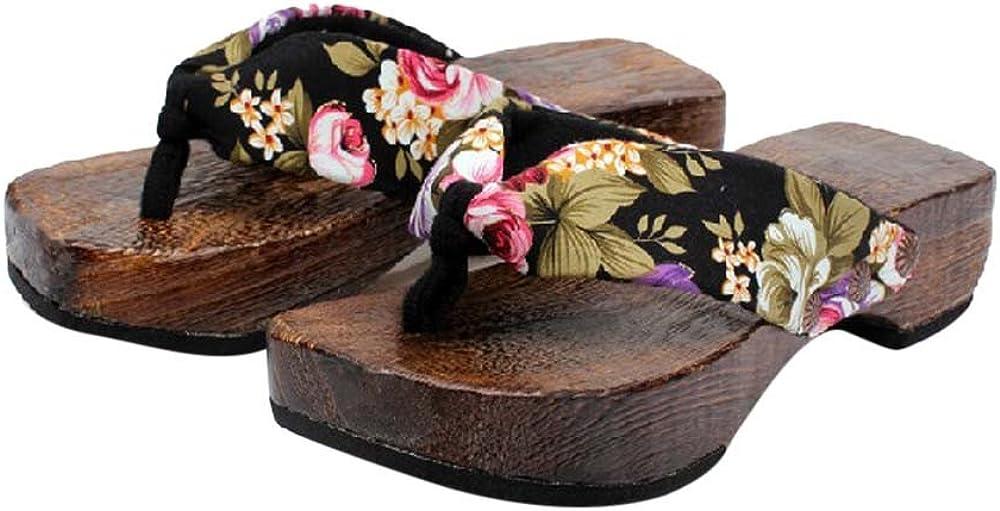 Infradito Donna in Legno,Modaworld Estivi Ciabatte da Spiaggia,Casual Home Pantofole Stampa Fiori Nero