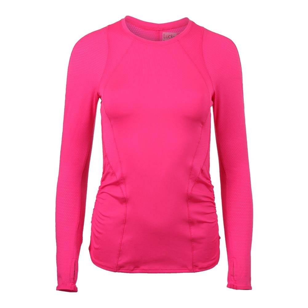 Lucky In Love Women`s Contour Long Sleeve Tennis Top Shocking Pink-(655295867502