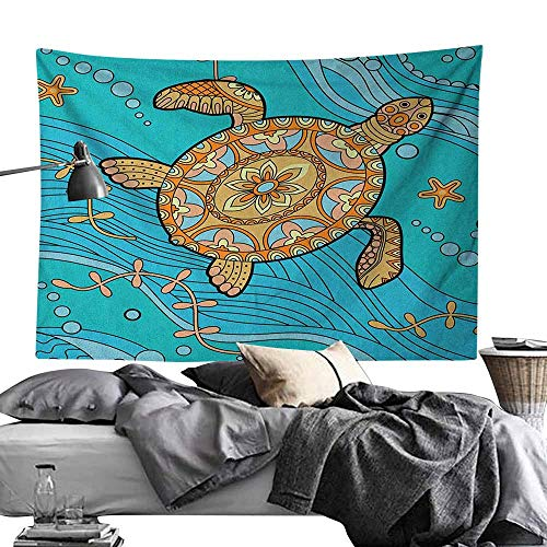 (Yoga TapestryTurtle,Doodle of Sea Turtle on Water Surface Artistic Maritime Inspirations Pattern Artwork, Turquoise Polyester Fabric Wall Art Hanging Home Decor 50