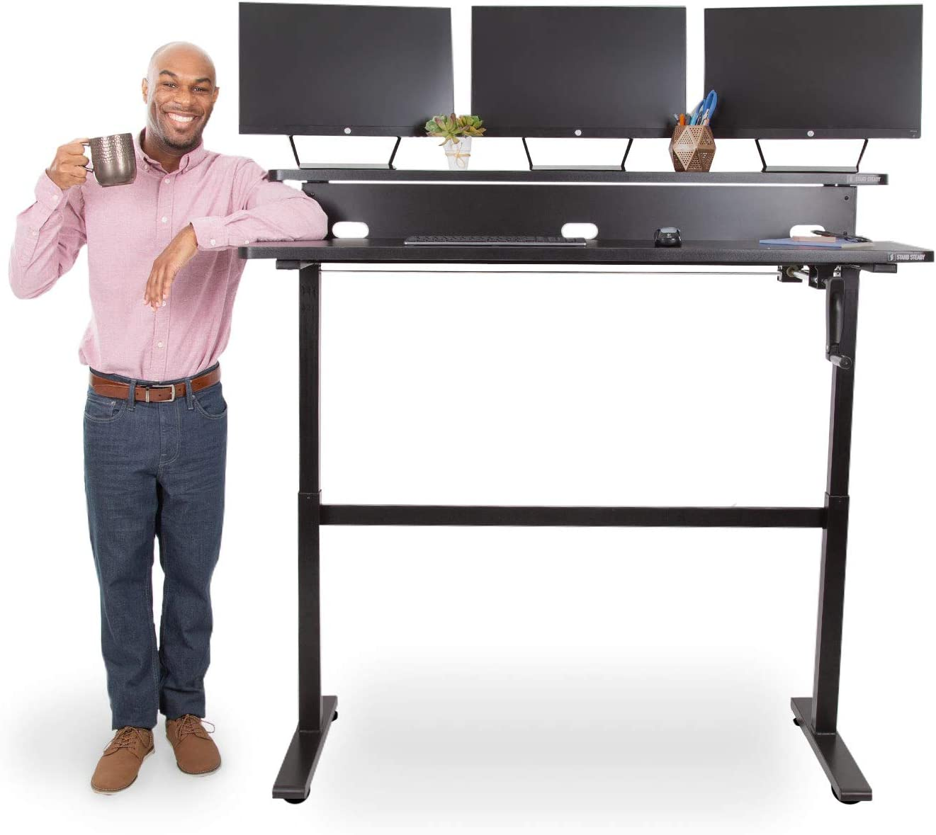 Stand SteadyTranzendesk| 55 Inch Dual Level best Standing Desk for tall people