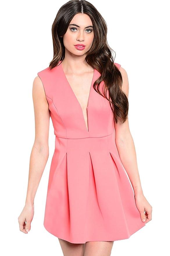 09d472cda8 Amazon.com  2LUV Women s Sleeveless Fit   Flare V-Neck Dress W Back Cutout   Clothing