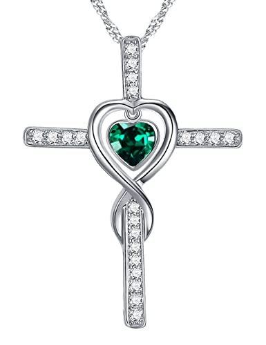 Mother's Day Gifts Infinity Love on Cross 925 Sterling Silver Necklace Pendant,18