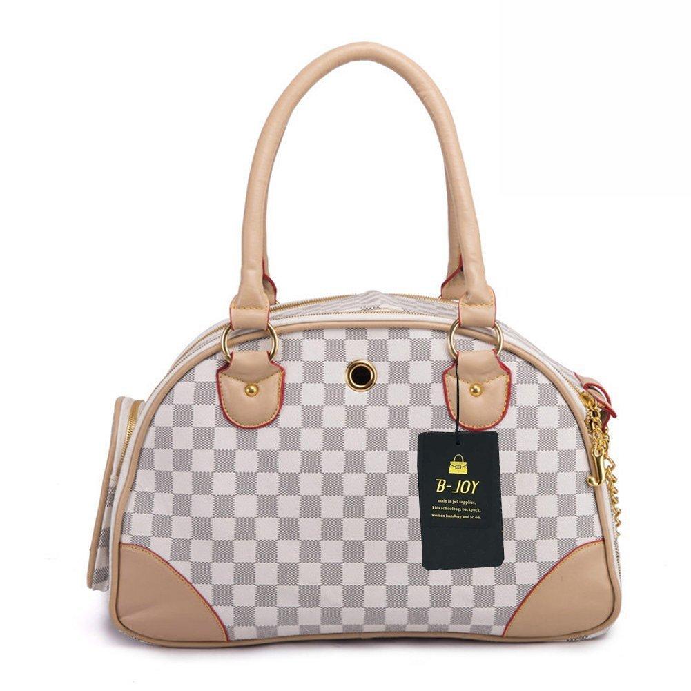 B-JOY Fashion Dog Carrier PU Leather Dog Handbag Dog Purse Cat Tote Bag Pet Cat Dog Hiking Tasche (S(38cm*23cm*17cm), White)