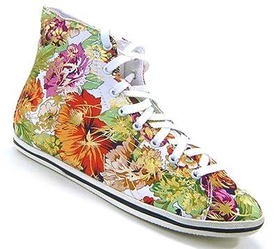 Schuh-City Süße Blumen Sneaker sportlich elegante Damen Schuhe Sneaker  beige 36 827a16fb84