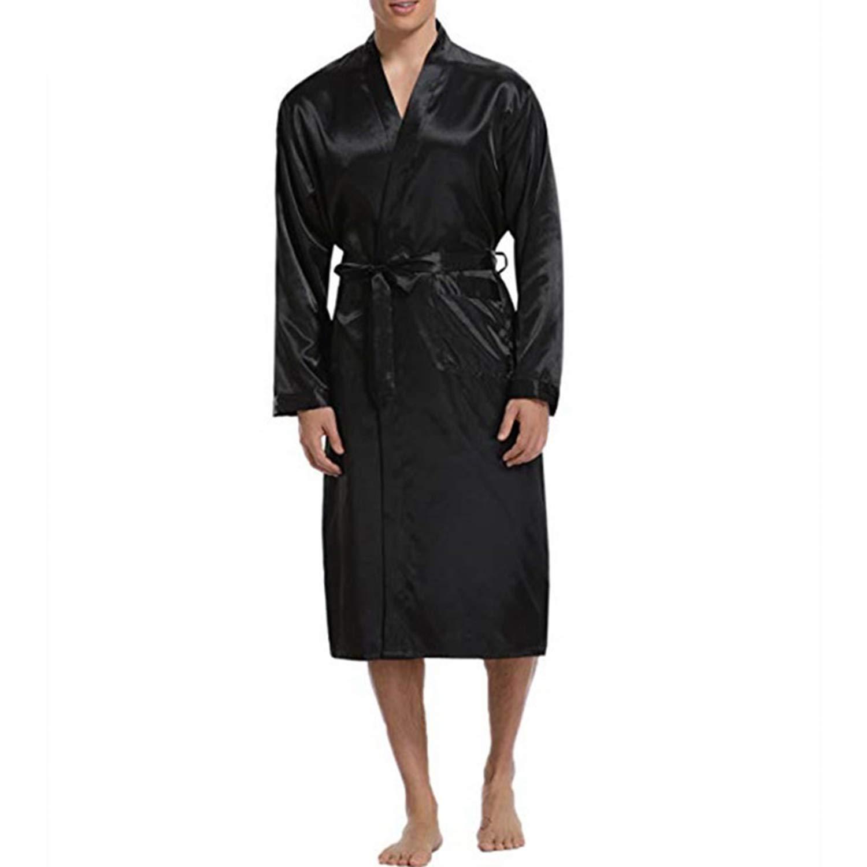 Mens Soie Satin V/êtements de Nuit Longue Robe Solide M/âle Peignoir Loungewear Manches Longues Kimono Hommes Pyjamas Loisirs Robe De Nuit