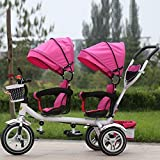 QXMEI Children's Tricycles Twins Children's Double Bicycles Baby Strollers Kids Bikes Baby Carriers 1 To 6 Years Old With Awnings,Pink