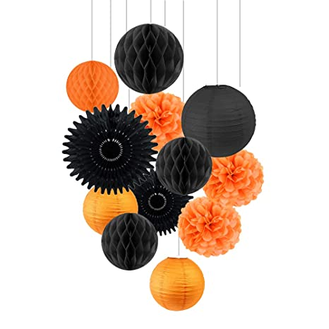 Easy Joy Halloween Papier Decoration Kit Pompom Papier Soie Orange Noir  Lanterne Papier Boule Alveolee Pour