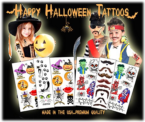 Halloween Temporary Tattoos - Made in the USA - Over 40 Tattoos (Halloween Fake Tattoos)