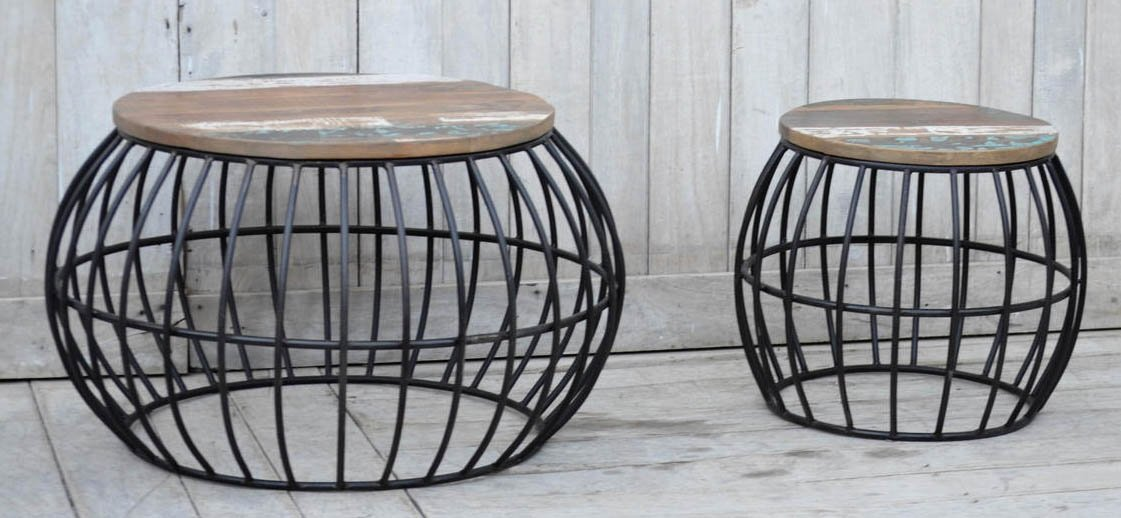 NACH vv-8004 Industrial style Iron Barrel cage Stool (Set of 2)