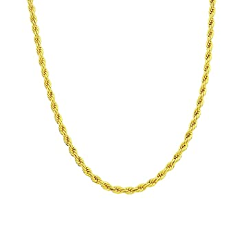 Amazon rope chain gold chain necklace 24k gold overlay 30x thicker rope chain gold chain necklace 24k gold overlay 30x thicker than plated tarnish resistant 6 mozeypictures Image collections