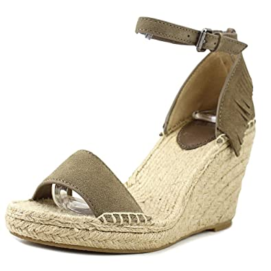 3025a743fa7 FRYE Women's Lila Feather Wedge Grey Oiled Suede Sandal 8.5 B (M ...