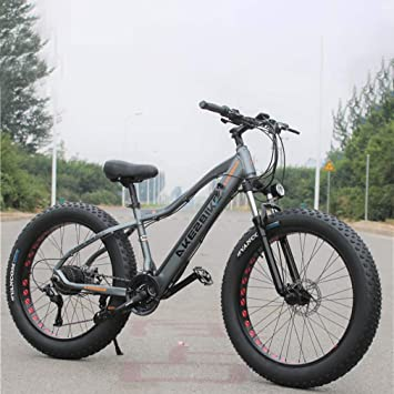 Adulto Fat Tire Bicicleta eléctrica de montaña, Bicicletas 350W Nieve, Portátil 10Ah Li-batería de Bicicletas Crucero de la Playa, 26 Pulgadas Ruedas,Gris,21 Speed: Amazon.es: Deportes y aire libre