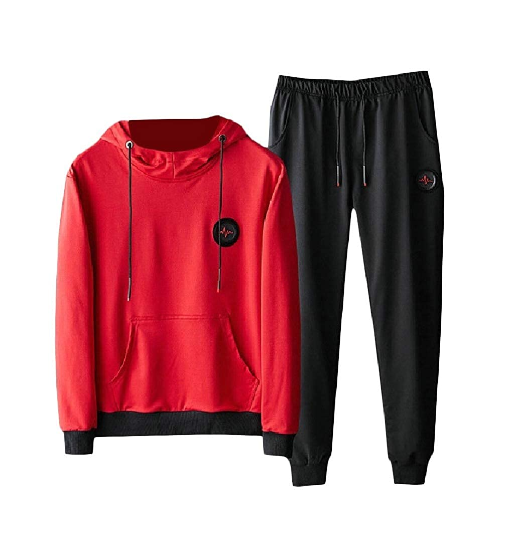 2de4a34131a1ee Red Zimase Men Long Sleeves 2-Piece 2-Piece 2-Piece Set Hoodie Leisure  Athletic Track Set f5f7ee